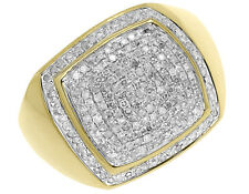 10k Yellow Gold Mens Round Pave Diamond Square Top Xl Fashion Pinky Ring 1 ct