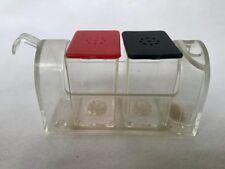 VINTAGE MAILBOX SALT PEPPER SHAKERS TOOTH PICK HOLDER CLEAR RED BLACK PLASTIC