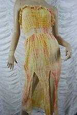 TIGERLILY orange yellow cotton blend tie dye strapless maxi dress size S EUC