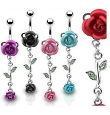 METAL ROSE VINE BELLY NAVEL RING FLOWER GEM DANGLE  B4