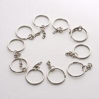 10pcs Silver DIY Polished Silver Keyring Key Chain Split Ring Short Chains 25mm/
