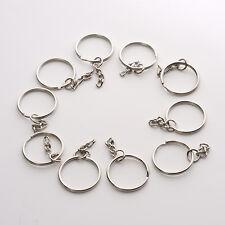 10pcs Silver DIY Polished Silver Keyring Key Chain Split Ring Short Chains 25mm