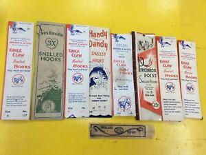 Lot of Vintage Eagle Claw  Pflueger snelled Hook Leader set advertising