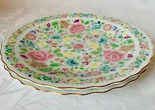 """2 SMITHSONIAN INSTITUTION 7.75"""" CABINET PLATES, CHINESE EMBROIDERED SILK SHAWL"""