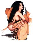 6 inch#PINUP COW GIRL #COWGIRL OLIVIA de BERARDINIS PACKIN' HEAT #STICKER/#DECAL