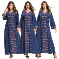 Women Embroidery Ethnic Long Dress Muslim Hippie Abaya Islamic Kaftan Robe Gown
