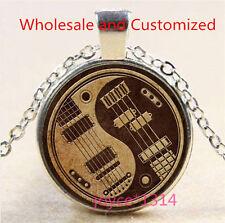 Yin Yang Guitar Cabochon Tibetan silver Glass Chain Pendant Necklace #3520