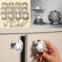 New 12pcs Diamond Shape Crystal Glass Door Drawer Cupboard Handle Pull Knob