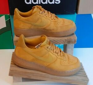 Nike Air Force 1 Low 07 Mustard Yellow Suede Trainers Size 8