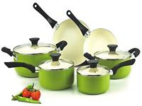 Cookware set with pan ,pots for cooking 10 piece nonstick ceramic ,kitchen