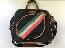 Vintage Lark Carry On Bag w Tennis Racquet Pocket Black w Stripes