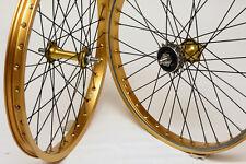 Gold n Black BMX Wheels Araya 7X Rims Suzue 36H Sealed Hubs Suntour 16T Sprocket