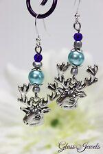 Glass Jewels Silber Ohrringe Ohrhänger Oktoberfest Hirsch Perlen Blau #L010