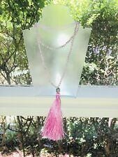 Pink Tassel and Faceted Crystals Buddha Head Necklace