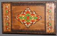 VITNAGE ORNATE PYROGRAPHY PAINTED WOOD BOX