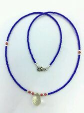 Afghan Natural Citrine with Coral Necklace Tiny Blue Glass Seed Beads Handmade