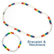 Pride Shack - Lesbian Gay Pride White Rainbow Puka Shell Bead Necklace Bracelet
