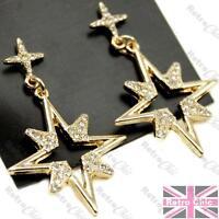 CRYSTAL encrusted STAR cross EARRINGS gold plated CHANDELIER drop AZTEC spiky