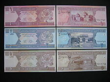 AFGHANISTAN  1 + 2 + 5 Afghanis 2002  (P64a + P65a + P66a)  UNC