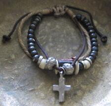 Pulsera de cuero marrón bracelet Herren Surfista Cruz Madera