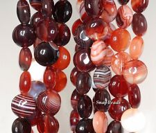 """12MM COFFEE AGATE GEMSTONE BROWN STRIPED FLAT ROUND 12MM LOOSE BEADS 7"""""""