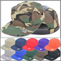 100%Cotton Flat brim Old School 5 Panel Baseball Army Hat Cap Skate Style Visor