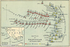 Battle of Trafalgar Map Vintage Old Antique Map Art  Canvas Print
