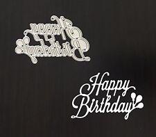 """Artigianato DI METALLO """"Happy Birthday"""" FRASE sentimento DIE Cutter"""