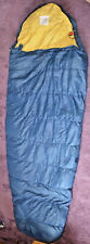 Vintage Frostline Kit Goose Down Mummy Sleeping Bag Navy Yellow Good Condition