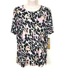 ILE New York Womens Blouse Size Medium Black Pink Yellow Beige Short Sleeves New