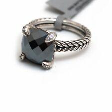 New DAVID YURMAN 11mm Hematite Chatelaine Sterling Silver DIamond Ring Size 7