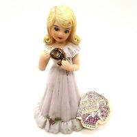 Enesco Growing Up Birthday Girls Age 9 Blonde 1981 Figurine 5 Inches Tall No Box