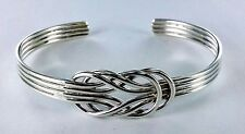 New Double Infinity Cuff Sterling Silver Bracelet  .925 Pure Silver