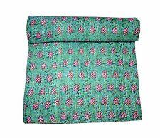 Indian Handblock Fruit Tree Kantha Quilt Indian Cotton Bedspread Queen Vintage