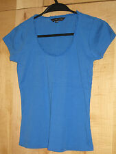 Ladies Blue Fitted Tee T-Shirt XS Plunge Neckline GREAT PLAINS Petite Frilled