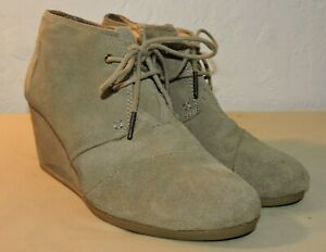 Toms Womens  Boots Desert Taupe Suede Booties Wedge Ankle Size 10