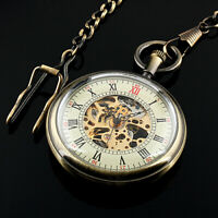 Mens Pocket Watch Mechanical White Dial Hand-Winding Skeleton Gold Chain Luxury