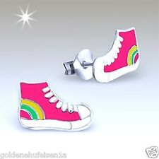 Pink Turnschuhe Sneakers Ohrstecker Echt 925 Silber Ohrringe Schuhe Geschenkidee