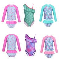 Kids Girls Long Sleeves Tankini Swimwear Swimsuits Rash Guard Surfing Beachwear