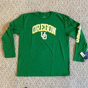 Oregon Ducks Long Sleeve Green Yellow Arch Logo Mens 2XL NWT Fanatics Brand