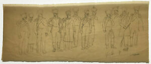CHARLES HOFFBAUER Original ~ NAPOLEONIC SOLDIERS ~ Pencil DRAWING SIGNED ANTIQUE