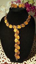 Signed Vintage Lisner Two Tone Amber/Brown Thermoset Oak Leaf ~Necklace-Bracelet