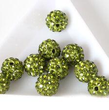 10pcs Shamballa Kristall Perlen Beads Strass Disco Kugel Ball DIY 10mm
