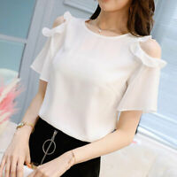 Summer Ladies Blouse Short Sleeve Chiffon Top Loose Shirt Women T-Shirt Fashion