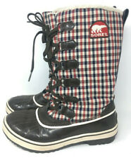 Sorel Womens Waterproof Winter Boots Plaid Size 7 NL1626-231 Brown Red Blue
