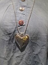Lagenlook Long Large solid heart Necklace antique silver colour