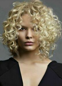 Middles Length Light Blonde Fluffy Afro Curly Synthetic Hair Wigs Cap Wigs