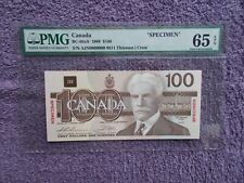 1988 $100 «SPECIMEN» Canadian Banknote BC-60aS AJN00000000 0611 PMG GEM 65 EPQ