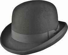 HAND MADE BOWLER HAT 100% WOOL Felt Top Satin - MANY COLOURS
