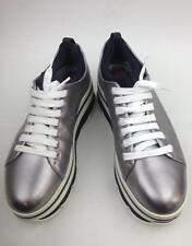 Prada Wave metallic leather platform sneakers Silver  mismatch sz36/37